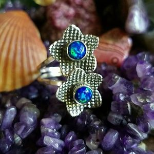 Opal Double Ring Sterling Silver NEW